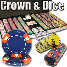 New 750 Crown & Dice 14g Clay Poker Chips Set with Aluminum Case - Pick Chips!