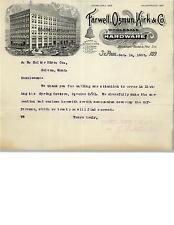 1897 Farwell, Ozmun, Kirk & Co., Hardware, Letterhead from St. Paul, MN
