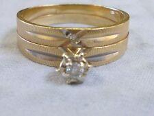 Beautiful 14K Gold Diamond Wedding Band Set (soldered) approx .10 ct