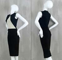 Victoria Beckham Black White Back Zip Bodycon Fitted Pencil Day Dress Size UK8