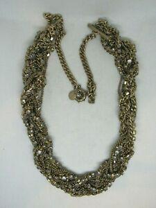 "Vintage Talbots Necklace Twisted Multi Chain & Rhinestone 26"""