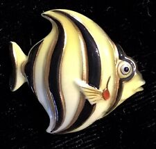 AWESOME REALISTIC JAPANESE ARITA PORCELAIN ANGEL FISH BUTTON