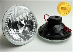 "7"" CHROME LED HALO SEALED BEAM H6024 GLASS HEADLIGHT LAMP PLYMOUTH FORD GMC"