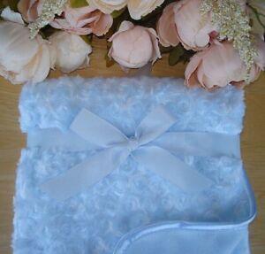 Baby Boy Blue Soft Deluxe Rosebud Blanket 100x75cm Fleece Lined Christening Gift