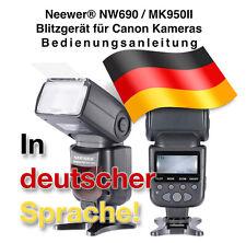 Neewer_NW690 / MK950II Blitzgerät Bedienungsanleitung in deutsch zum Download!