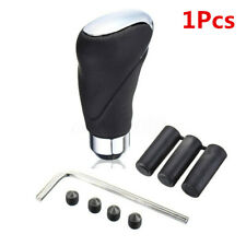 Leather+Metal Gear Stick Shift Knob Cover Handle Shifter Lever Kits Fit For Car