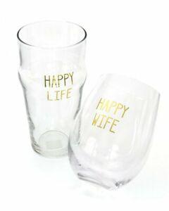 """Happy Wife, Happy Life"" - Wine/Beer Glass Set"