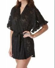 NEW JOSIE NATORI BLACK MOONLIGHT RUFFLE SLEEVE WRAP ROBE SIZE MEDIUM M