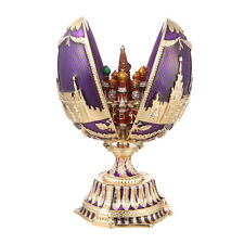 Russian Faberge Egg Moscow Kremlin & St-Basil's Cathedral 4.7'' (12cm) purple