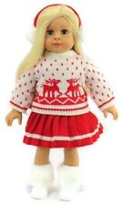 """Reindeer Winter Sweater, Skirt, & Earmuffs for 18"""" American Girl Doll Clothes"""