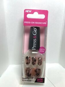 Impress Gel Manicure Press on Nails Short Black lace patterned nails