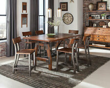 Transitional Brown Finish 7pcs Counter Height Dining Room Table Chairs Set IC63
