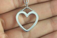 Tiffany & Co Elsa Peretti 18K White Gold Open Heart Pendant 18'' Chain Necklace