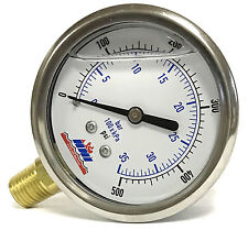 "500 Psi 3500kPa Stainless Oil Filled Pressure Gauge 2-1/2"" Dial - 1/4"" NPT"