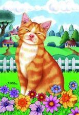 New listing Spring House Flag - Orange Tabby Cat 76008