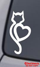 CAT HEART Vinyl Decal Sticker Car Window Wall Bumper Kitten Adopt Paw Love Pet