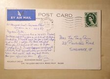 Great Britain London Buckingham Palace To Singapore 1967 9 Pence Postcard