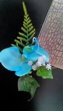 ONE NEW PALE BLUE ORCHID/FERN BUTTONHOLE+PIN.WEDDING.PARTY.GUEST.PROM.GROOM