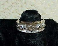 Antique 14k .33ct PRINCESS DIAMOND Eternity Cigar BAND RING WIDE White Gold Sz 6