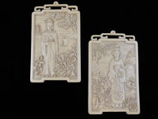 "Pair - Vintage 11"" Asian Man & Woman Plastic Resin Wall Plaques - Bas Relief"