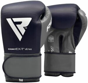 RDX C4 Leather Blue 10oz Fight Boxing Sparring Gloves Hook & Loop Men & Women Mu