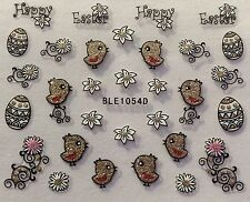 Nail Art 3D Stickers Glitter Decals Happy Easter Chick Flowers BLE1054D