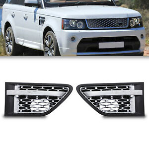BLACK CHROME WING SIDE AIR INTAKE VENT GRILLES FOR RANGE ROVER SPORT L320 10-13