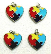 Autism Awareness Charms Heart Puzzle Piece Aspergers Jewelry Lot of 12