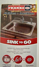 FRANKE Single Bowl SS Self-Rimming Kitchen Sink w/Faucet, Side-Spray & Strainer