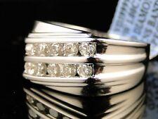 10K Mens White Gold Wedding 2 Row Diamond Band Ring 1Ct