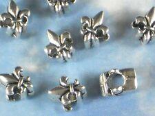 20 Big Hole Fleur de Lis Beads Silver Tone Spacer Round FDL Saints #P1250
