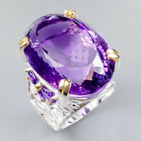 Vintage60ct+ Natural Amethyst 925 Sterling Silver Ring Size 9/R124128