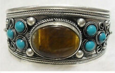 Tibet Silver turquoise Beads Cuff bracelet Bangle  AAA