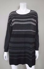 EILEEN FISHER Charcoal Gray Striped Merino Wool Tunic Sweater - Size S
