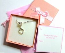 Bridesmaid Flower Girl Gift Silver tone Heart Necklace Silver Chain Box/Tag/Bag