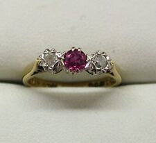 1960's Vintage Lovely 18 Carat Gold Ruby And Diamond Three Stone Ring Size K.1/2