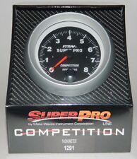 "NEW SUPERPRO COMPETITION 3 3/8"" TACHOMETER TACH w/ SHIFT LIGHT 0-8000 RPM -Black"