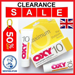 OXY 10% Max Strength Benzoyl Peroxide For Stubborn Acne Pimple Meds UK Seller