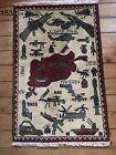 •153• Beautifully Handmade Afghan War Rug Brilliant Style And Quality, 90x59 cm