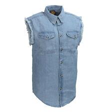 Milwaukee Performance Men's Blue Lightweight Sleeveless Denim Shirt  - DM1001