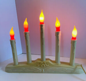 Vintage NOMA Christmas Window 5 Candle Lights Candelabra Candolier Plastic Decor