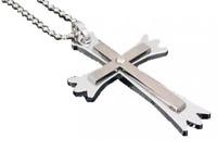Men's Stainless Steel Black Crystal Prayer Cross Necklace N87