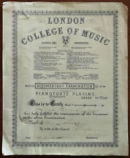 More details for london college of music pianoforte rudimentary examination certificate 1941