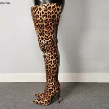Women Shiny Thigh High Boots Stiletto Heels Boots Pointed Toe Leopard Club Shoes