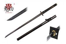 "41"" Onikiri Black Carbon Steel Handmade Ninja Straight Katana Sword w/ Scabbard"