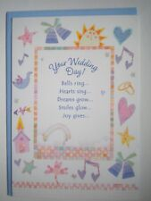 """Hallmark Expressions ~ GLITTERY """"YOUR WEDDING DAY"""" GREETING CARD + BLUE ENVELOPE"""