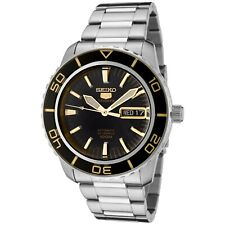 Seiko Men's Automatic Black Dial Stainless Steel Watch SNZH57
