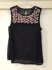 Atmosphere Ladies Black Blouse With Floral Print Size 10 Good Condition