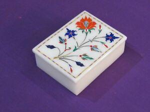 Marble Jewelry Box Inlay Pietra Dura White Stone Handicrafts Decor and Gift