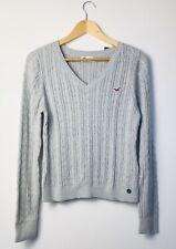 Hollister Grey Cable Knit V Neck Jumper Size L BNWT